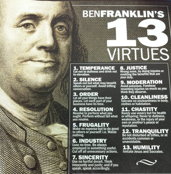 benjamin franklin and the thirteen virtues in his book Buy benjamin franklin's book of virtues at a low price see reviews & details on a wide selection of games and consoles - gamerbunkcom.