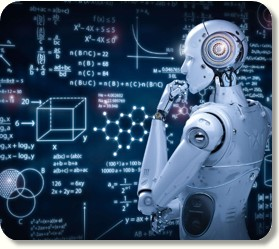AI Robot looking at Blackboard